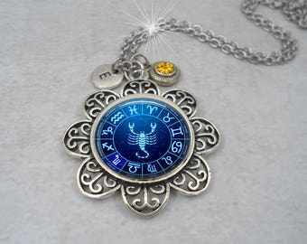 Scorpio Zodiac Necklace w-Swarovski Birthstone Crystal & Letter Charm of Your Choice, October Birthday, November Birthday, Scorpio Gift