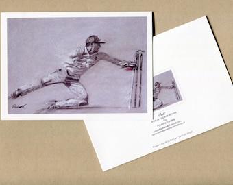 Out! - fine art cricket greetings card, cricket card, cricket note cards, blank cricket cards, cricket art, cricket artist, sports card