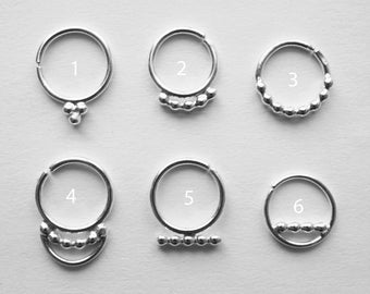 sterling silver septum ring - choose your style