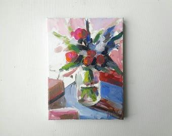 original acrylic painting, plant painting, small painting, botanical art, 5x7 painting, acrylics on canvas, small wall art