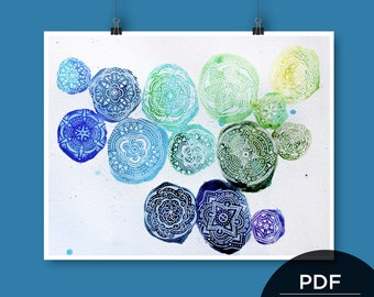 Watercolor Stones Cool Print • Downloadable PDF File • 8x10 or 11x14