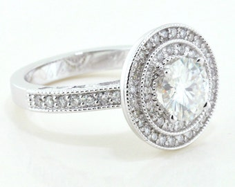 Diamond Engagement Ring Setting Double Halo Vintage Style Forever One  Moissanite Center Kylie
