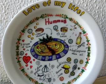 Hummus Israeli! Love of my life! A hand-made Israeli souvenir plate
