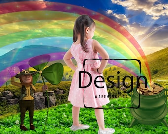 St. Patty's Prop Digital Backdrop Leprechaun backdrop Shamrock  Field Prop Clovers  Rainbow Pot of Gold Digital Prop  St. Patrick's backdrop