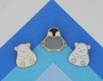 Arctic Animal Lapel Pin (Penguin, Polar Bear)