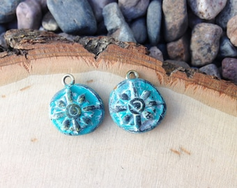 Rustic clay charms - compass - set of 2