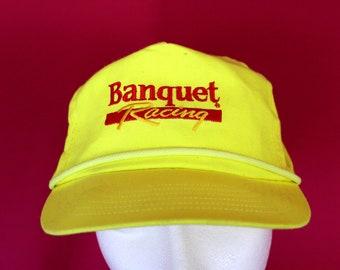 Vintage Banquet Racing Neon Yellow Baseball Cap. Retro 90s Neon Hat. Vintage 90s Banquet Racing Hat. Hipster 80s Neon Baseball Hat.
