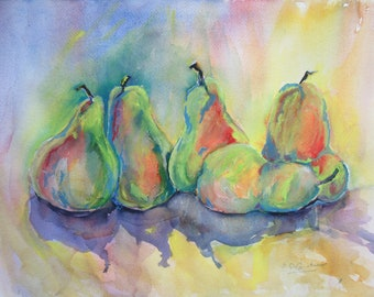 Watercolor Painting  Five Pears Impressionist Original Art  Green Orange Fruit Cottage Decor