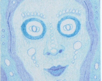ACEO SFA Water Elemental print of drawing fantasy face portrait blue bubbles limited edition nitelvr