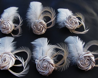 Set of 6 Bridesmaid Fascinators, wedding party headpieces, Gift for bridesmaids - Satin rosettes with Ivory goose feathers