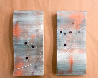 Art wood panels, set of two wood panels, Abstract art wood panels, blue abstract art