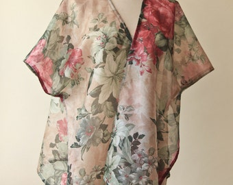 Floral Kimono Top | Sheer Kaftan Blouse | Cabbage Rose Blouse | Sheer Floral Blouse | Beach Coverup | Bohemian Bathing Suit Cover Up
