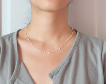 Tiny Silver Bead Necklace , silver satellite necklace , tiny dot silver necklace
