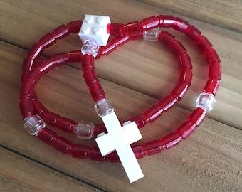 Rosary made of Lego Bricks - Translucent Red, Clear & White Catholic Rosary
