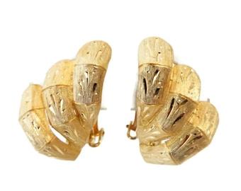 Kramer Earrings, Vintage Etched Earrings, Gold Tone Clip-on Earrings, Signed Designer Jewelry
