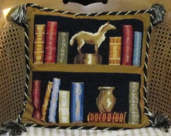 "Needlepoint Pillow Designer Book Lover Tapestry Library Black Gold Red Blue Neutral 16"" Needlepoint Pillow"