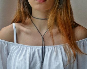 Gray Suede Wrap Tie Choker Necklace
