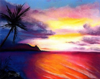 Kauai Art, Kauai Art Prints, Hanalei Sunset Print, 8 x 10 Giclee Art Print,  Kauai North Shore Art, Hawaiian Sunset, Kauai Beach Art Prints