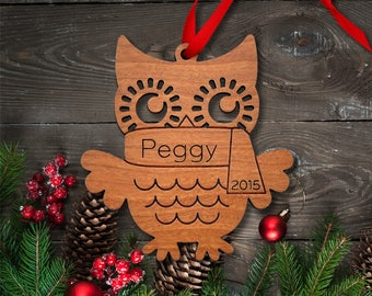 Wooden Owl Ornament: Personalized Name, Boy or Girl, Classic Cute Woodland Animal Ornament, Baby's First Christmas 2018