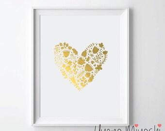 Flower Heart IV Gold Foil Print, Gold Print, Custom Print in Gold, Illustration Art Print, Gold Foil Art Print