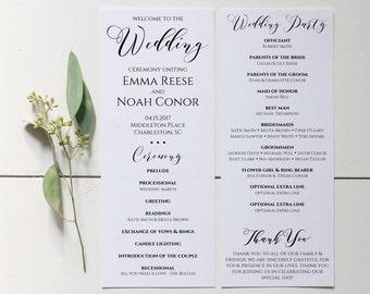 Wedding Program Printable, Wedding Program Template, Editable Wedding Program, Rustic Wedding Ceremony Program, Instant Download. WC3