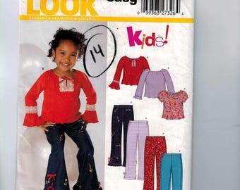 Girls Sewing Pattern New Look 6337 Girls Easy Top Raglan Sleeve Peasant Flared Sleeves Pants Size 3 4 5 6 7 8 Breast 22-27 UNCUT  99