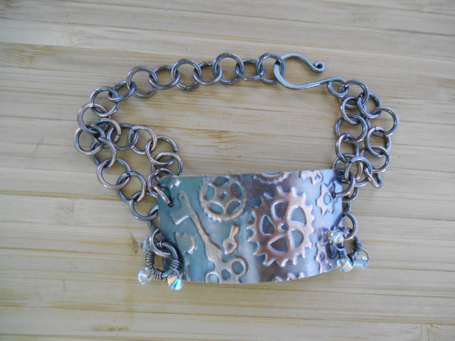 Wire Wrapped Jewelry Handmade Steampunk Embossed Wire Wrapped