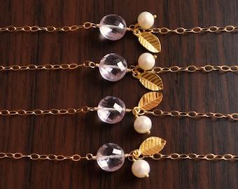 Lavender Bridesmaid Bracelets, Pink Amethyst Gemstone, Gold Vermeil Leaf, Freshwater Pearl, Lilac Wedding Jewelry, Free Shipping