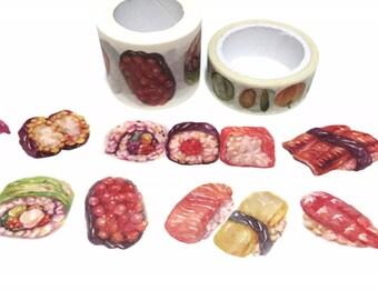 sushi washi tape 3cm x 7M sushi roll egg roll sashimi nigiri gunkan maki eel unagi ebi shrimp sushi themed food party deco sticker tape