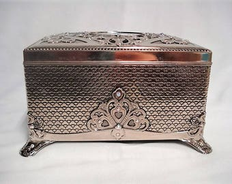 Silver Tone Bejeweled Musical Jewelry Box