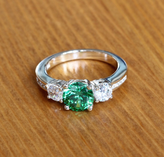man high ring item rose gold luxury green engagement emerald rectangle made woman quality lady color plated crystal