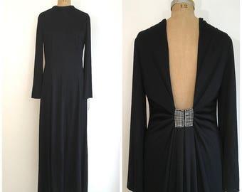 1960s 1970s Estevez Eva Gabor Evening Gown 60s 70s Black Rhinestone Backless Maxi Dress