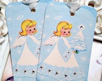 Vintage Angel Gift Tags (6) Blue Christmas-Shabby Gift Tags-Christmas Angel Tags-Favor Tag-Treat Tags-Vintage Style Tags-Angel Embellishment