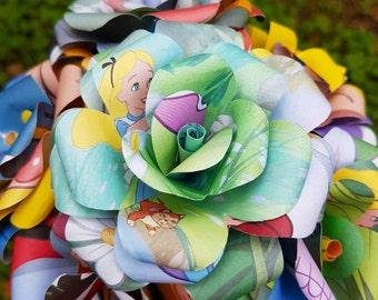 Alice in Wonderland Disney Book Bouquet-Book lover gift-Book decor- Unique Gift- Bridal Bouquet- Paper Flowers -Wedding-Valentines Day Gift