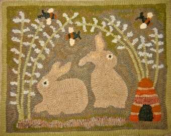 """RUG HOOKING PATTERN, Bunnies and Bee Hive, 15"""" x 19"""""""