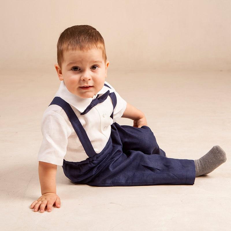 Baby boy navy blue suit Boy suspenders suit Ring bearer linen