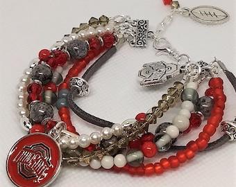 Ohio State Buckeyes, OSU Multi-Strand bracelet, scarlet and gray grey, adjustable, Buckeye football, OSU charm bracelet, beads, OHIO