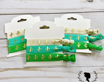 Cream, Teal and Green Cactus Hair Tie Set