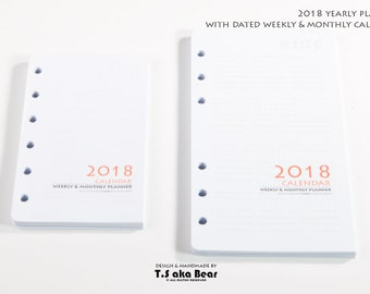 Add-on for Personal Organizer & planner | 2018 yearly planner | Weekly Monthly Daily Planner | Lined notes