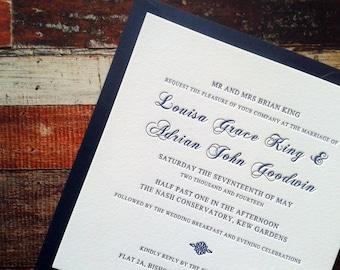 Letterpress Wedding Invitations, Script, Simple, Traditional, Colette sample