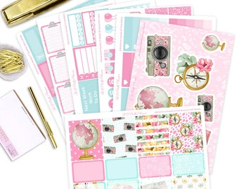 The Adventure Awaits Planner Sticker Kit - 7 Page Weekly Planner Sticker Kit for Erin Condren Vertical Life Planner