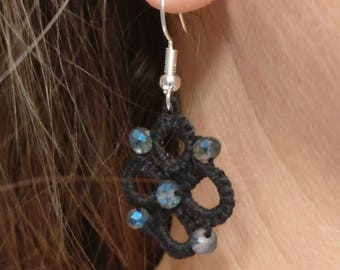 tatted earrings, lace earrings