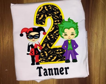 Joker and Harley Quinn Personalized DC Super Girls and Villian Birthday Shirt