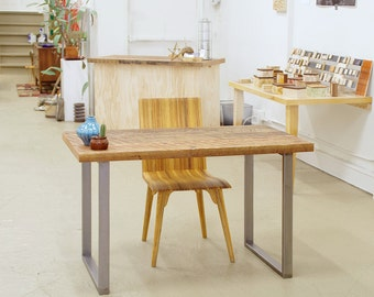 reclaimed wood desk with custom steel legs - industrial modern - console - high table - hall table - drawer option