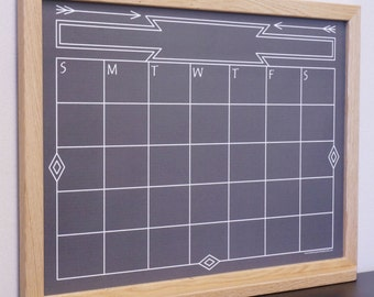 "Black ""Southwestern Chalkboard"" Calendar Dry Erase Board / Whiteboard - Large Chalkboard Wall Calendar / Perpetual Calendar / Command Center"