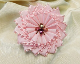 Pretty Pink Cocarde Brooch Insect Button