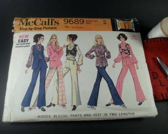 Misses Blouse,pants and vest McCall's Vintage 9689 Size 16 Stage Screen Mad Men Costume 1960s