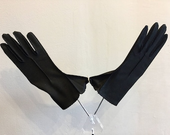 Gloves Vintage Black Nylon 1950's OriginalTag