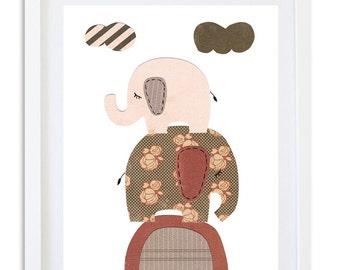 Girls room nursery art, Nursery decor, nursery pint, Elephants, Kids room wall art - Elephants at dusk
