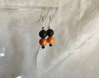 Marbled Orange and Black Onyx Earrings